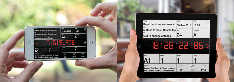 DigiSlate digital clapperboard app for iPhone, iPad and iPod Touch